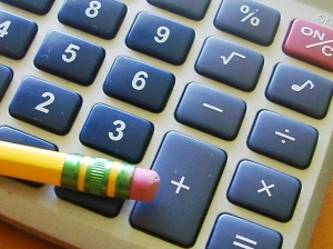 Pencil and calculator